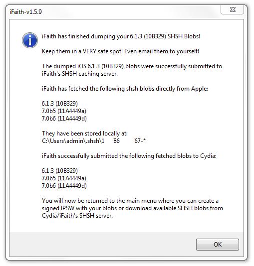 Сохранение SHSH с помощью iFaith