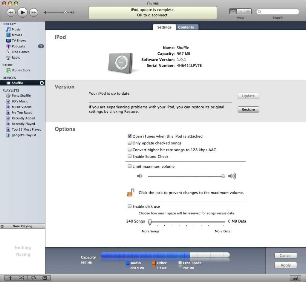 Особенности удаления песен с разных моделей iPod