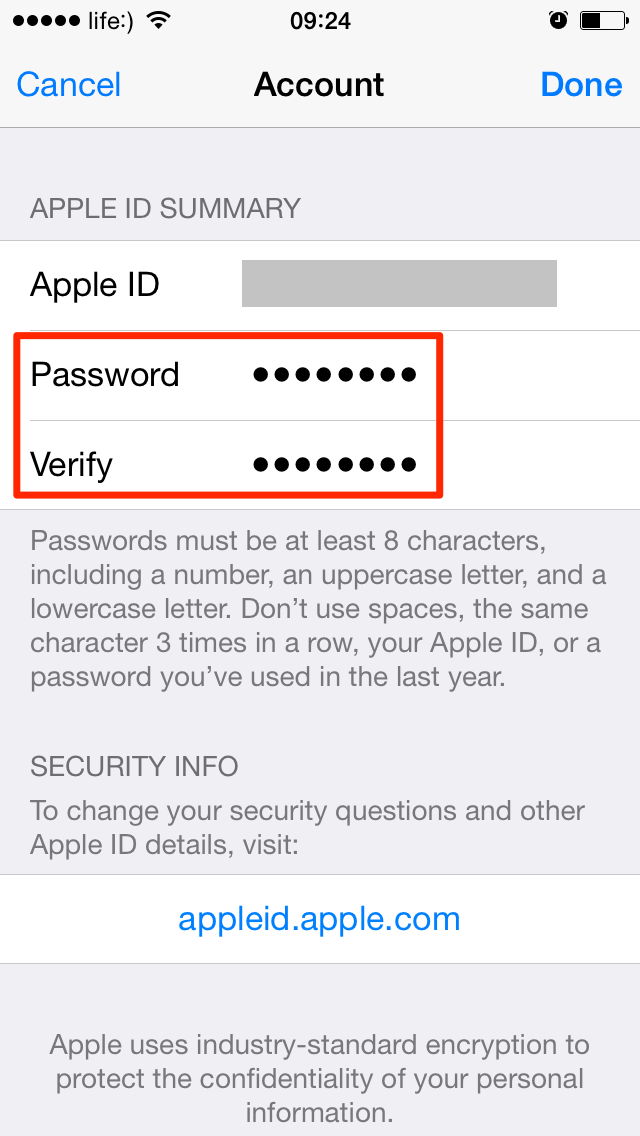 Экран ввода нового пароля