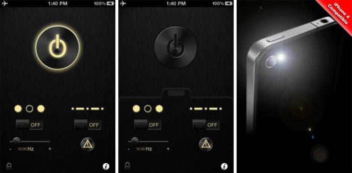 Интерфейс «Фонарика для iPad, iPhone, iPod touch»