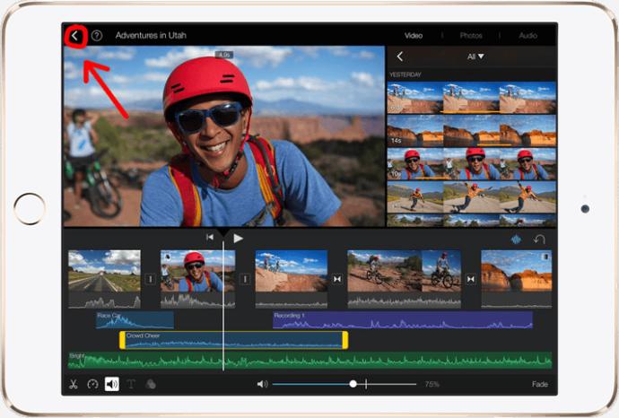 Кнопка возврата в iMovie