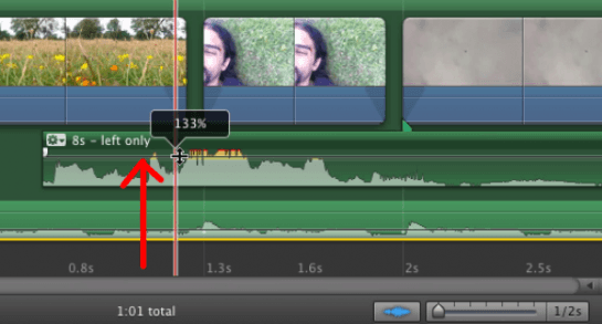 Наглядный пример осевой линии громкости в iMovie