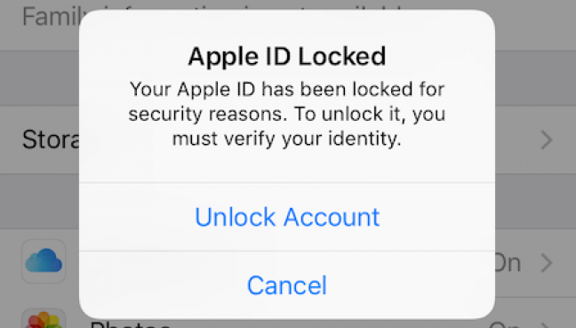 Ошибка Apple ID