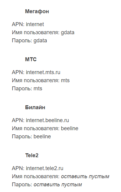 Список данных для каждого сотового оператора