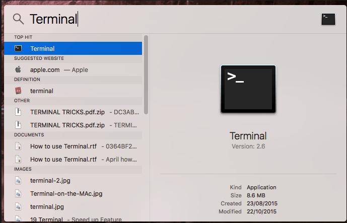 Терминал на Mac