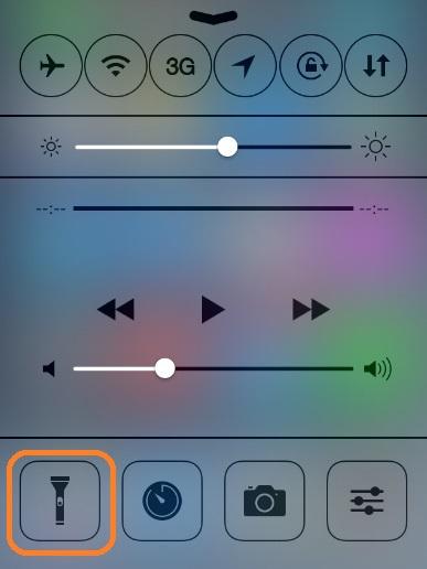 Иконка фонарика в центре управления iPhone